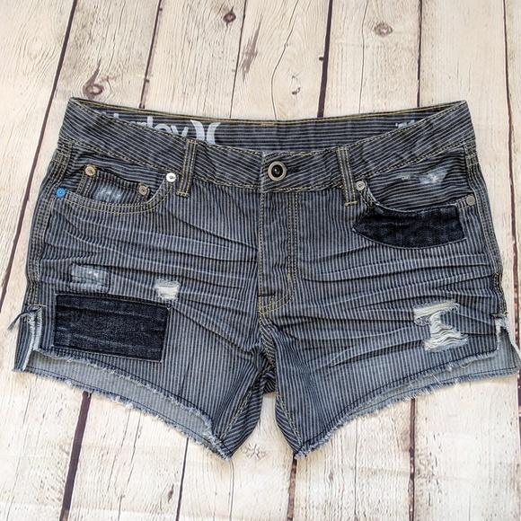 Hurley Pants - Hurley '51 Boyfriend Blue Striped Jean Shorts